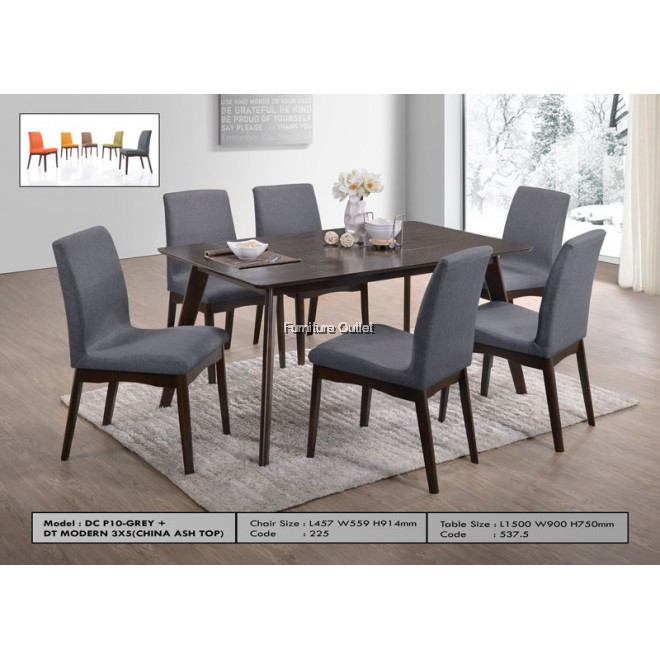 DC P10-Grey + DT Modern 3x5(China Ash Top) 1+6 dining set