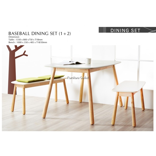 BASEBALL DINING TABLE WITH 2PCS BASEBALL BENCH