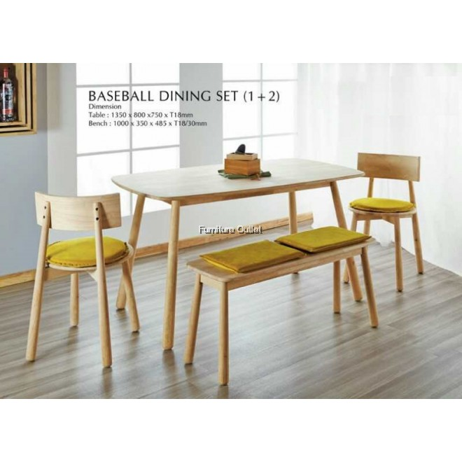 BASEBALL DINING TABLE + 1PC BASEBALL BENCH + 2PCS BASEBALL DINING CHAIR