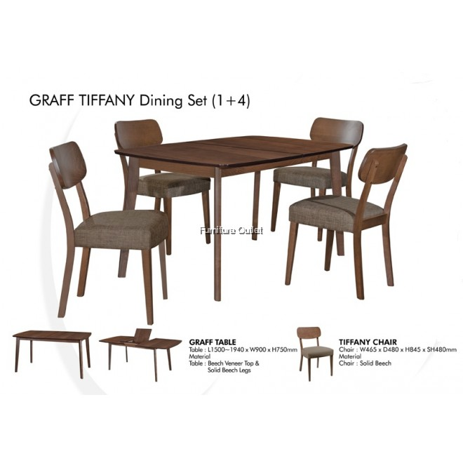 GRAFF PANDORA/TIFFANY DINING SET 1+4