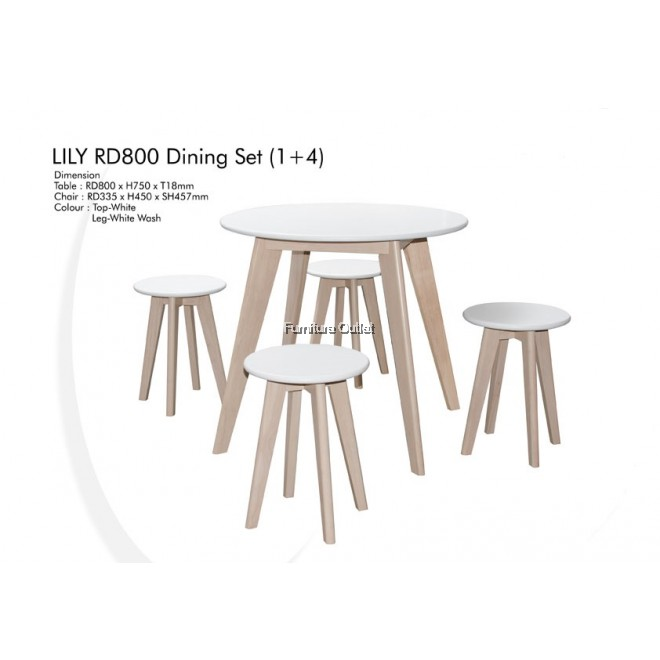 LILY 800RD DINING SET (1+4)
