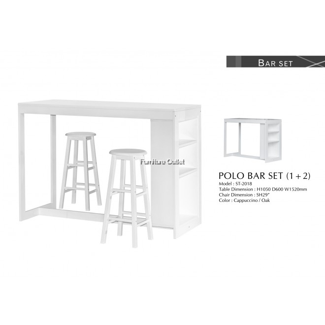 POLO BAR TABLE + 2PCS POLO BARSTOOL H29